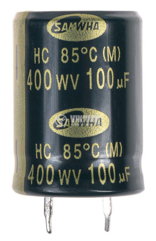 Електролитен кондензатор 100uF, 400V, THT, ф22x31mm  - 1