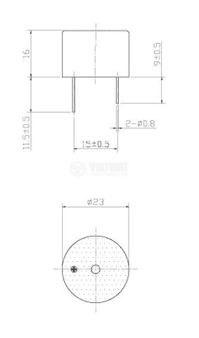 Buzzer, KPI-G2344, 24VDC, 88dB, 3.1 KHz, Ф23x16mm, piezoelectric, with generator - 2
