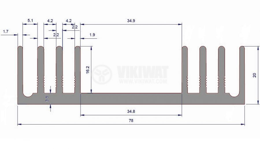 Алуминиев радиатор за охлаждане 1000mm, 78x20mm - 2