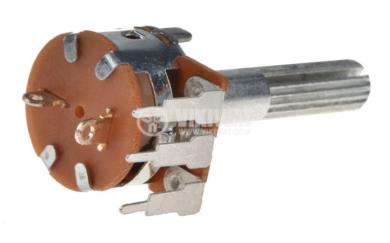 Потенциометър WH160АК-4-18T, ротационен, с ключ, логаритмичен, моно, 20kOhm - 2