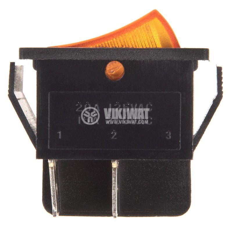 Rocker превключвател, 2 позиции, OFF-ON, 15A/250VAC, отвор 28x22mm - 2