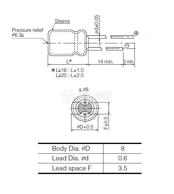 Кондензатор електролитен 6.3 V, 1000 µF, Ф8x11.5 mm - 2