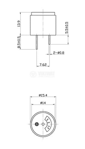 Зумер 85dB 4kHz 15.4x13.9 с генератор - 3