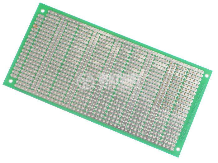 Universal PCB, single sided, EX22, 60x120mm, 2.54mm