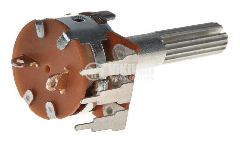 Потенциометър ротационен WH160АК-4-18T, с ключ, линеен, моно, 50kOhm - 3