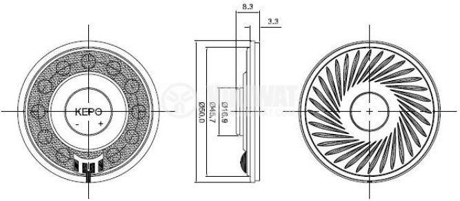 Miniature speaker KP5083SP1 8Ohm 0.5W 91dB - 4