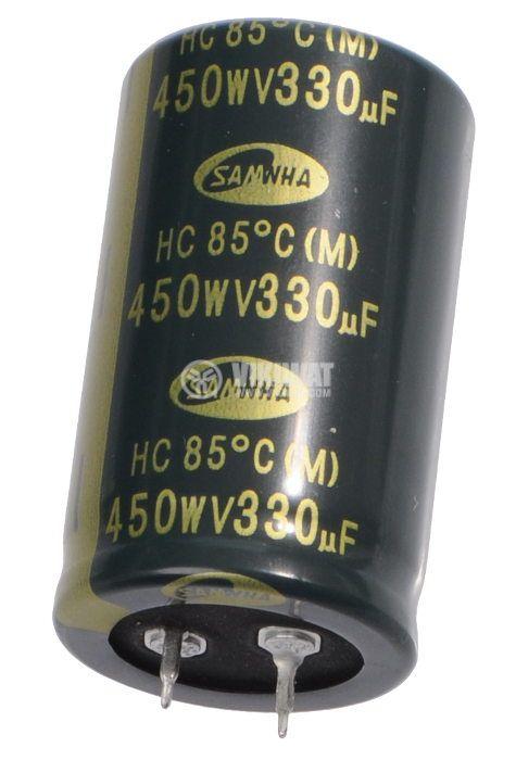 Кондензатор електролитен 450 V, 330 µF, Ф30x50 mm, snap-in - 2