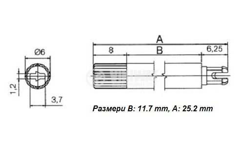 Копче за потенциометър, с регулираща ос, черно, размери h:18,7mm, В:11,7mm, за тример потенциометри - 2
