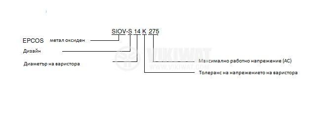 Варистор цинк-оксиден SIOV-S14/K275, 350VDC, 275VAC - 3