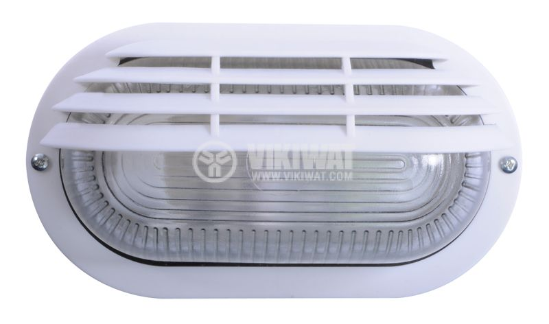 Lighting fixture, RINO 500AF0006110, kidney shaped with visor, IP44, waterpoof, E27, white - 1