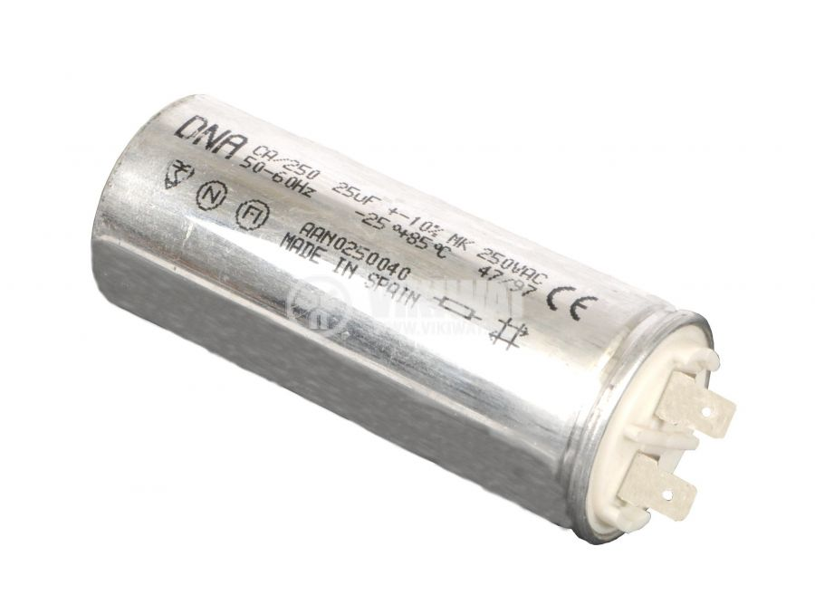 Motor start capacitor, 25 μF, 250 VAC, F40x105 mm, clips