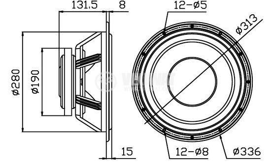 Loudspeaker, HIVI F12, 8 Ohm, RMS 100 W - 4