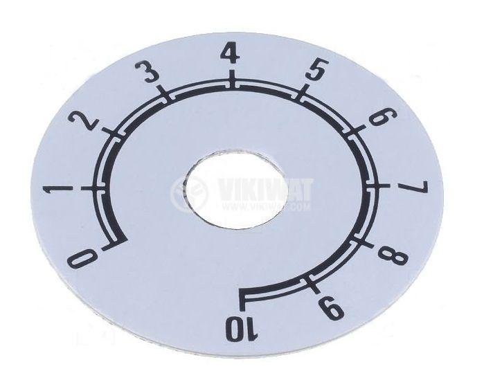 Скала за потенциометър, обхват от 0 до 10, външен диаметър ф38mm, самозалепваща