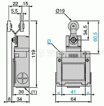 Краен изключвател, XCK-M115, DPST-NO+NC, 3A/240VAC, рамо с ролка - 2
