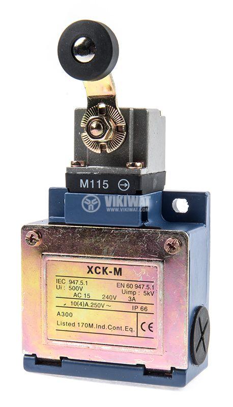 Краен изключвател, XCK-M115, DPST-NO+NC, 3A/240VAC, рамо с ролка - 1