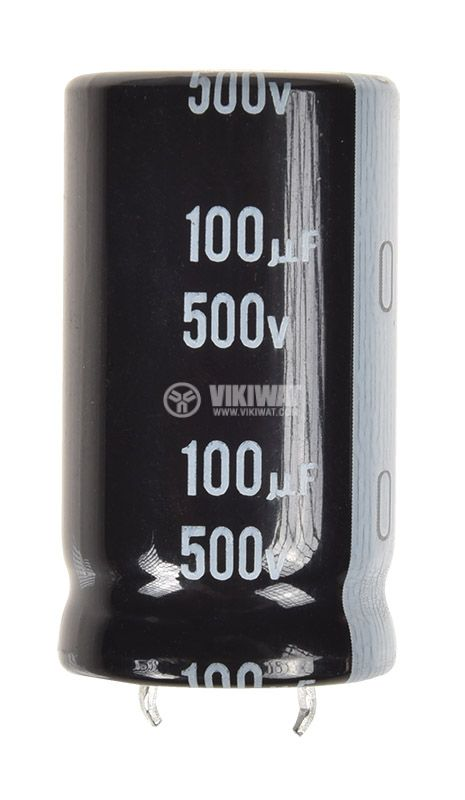Кондензатор LGX2H101MELZ40, електролитен, 100uF, 500VDC, THT, ф22x40mm - 1