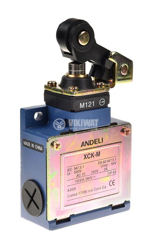 Краен изключвател XCK-M121, DPST-NO+NC, 3A/240VAC, рамо с ролка - 1