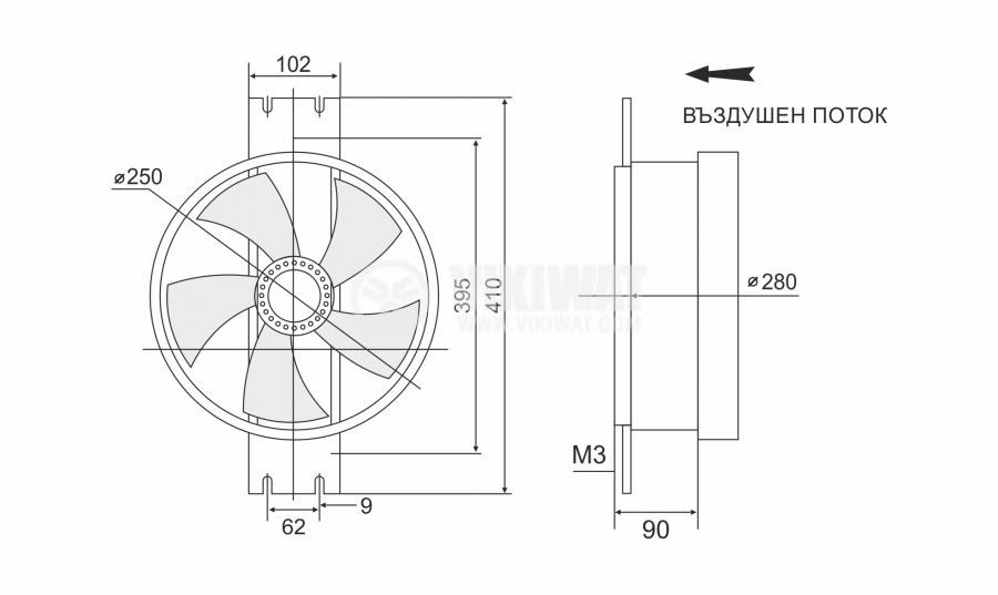 Fan, industrial, axial, Ф250mm, 220VAC, 130W, 1850m3/h, VW-2E-250, - 2