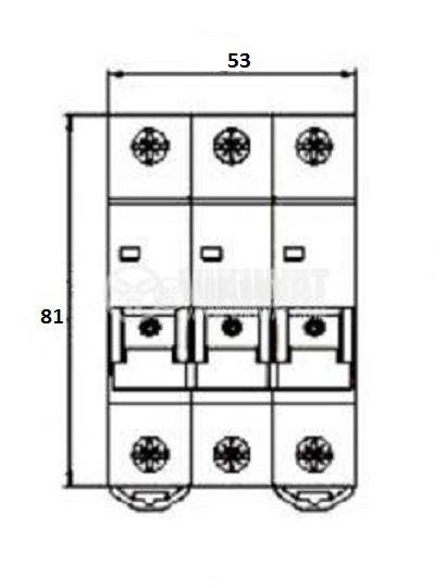 Предпазител автоматичен, триполюсен, 3x20A, E63N BG, C крива, DIN шина - 2