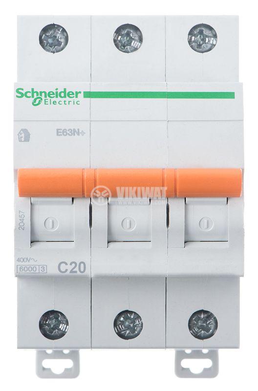 Предпазител автоматичен, триполюсен, 3x20A, E63N BG, C крива, DIN шина - 3