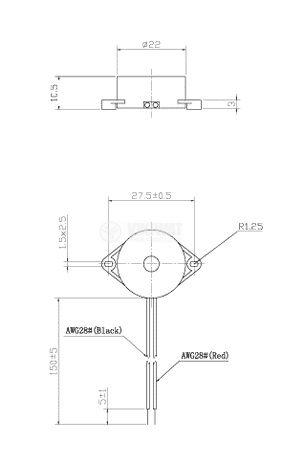 Зумер, KPI-G2210L, 12VDC, 85dB, 4.2KHz, Ф22 x 10.5mm, пиезоелектричен, с генератор - 2