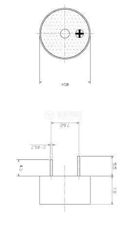 Зумер, KPI-G1410C, 12VDC, 85dB, 4KHz, Ф14 x 7.8mm, пиезоелектричен, с генератор - 2