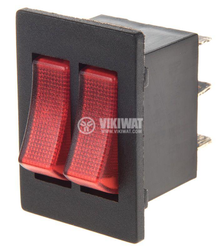 Rocker превключвател, 2x2 позиции, ON-ON, 15A/250VAC, отвор 28х22mm - 1