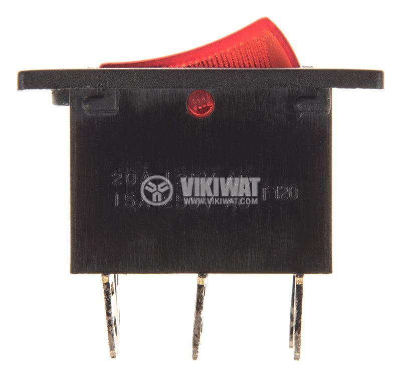 Rocker превключвател, 2x2 позиции, ON-ON, 15A/250VAC, отвор 28х22mm - 2