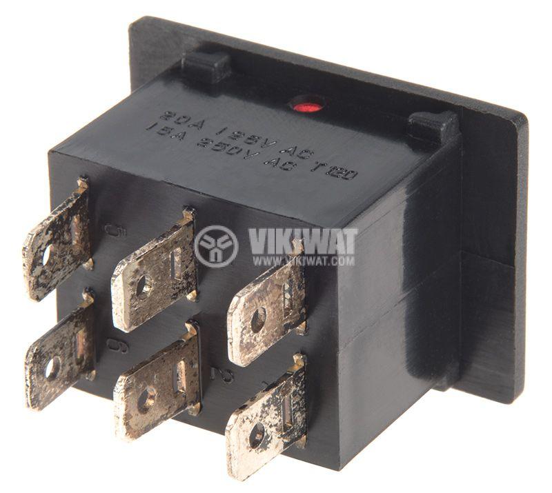Rocker превключвател, 2x2 позиции, ON-ON, 15A/250VAC, отвор 28х22mm - 3