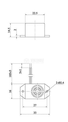Зумер, KPMB-G2206L, 6VDC, 75dB, 400Hz, 33 x 16mm, пиезоелектричен, с генератор - 2