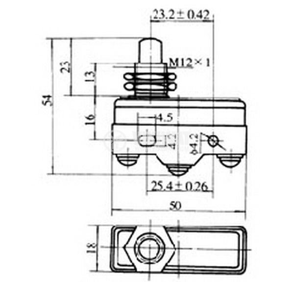 Краен изключвател, A1D1, SPDT-NO+NC, 16 A, 380 VAC, щифт - 3