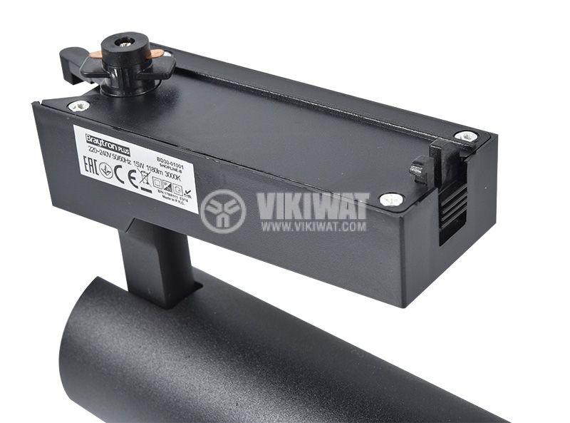 LED COB релсов прожектор SHOPLINE-B, 15W, 1180lm, 3000K, топлобял, BD30-01001, черен корпус   - 7