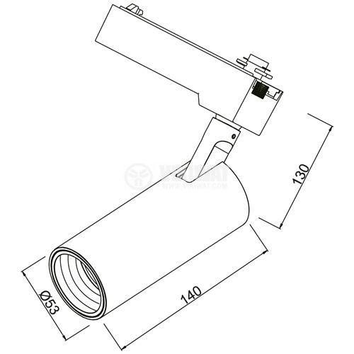 LED COB релсов прожектор SHOPLINE-B, 15W, 1180lm, 3000K, топлобял, BD30-01001, черен корпус - 10