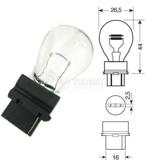 Автомобилна лампа, 12VDC, 27W, P27W, W2.5x16q