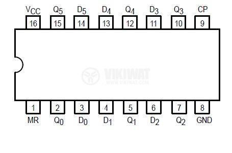 Интегрална схема 74S174, TTL серия S, HEX D FLIP-FLOP, DIP16 - 2