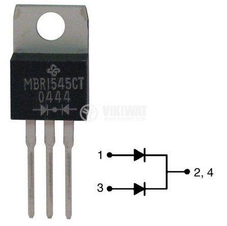 Диод MBR1545CTG, 45 V, 2 x 7.5 A, шотки