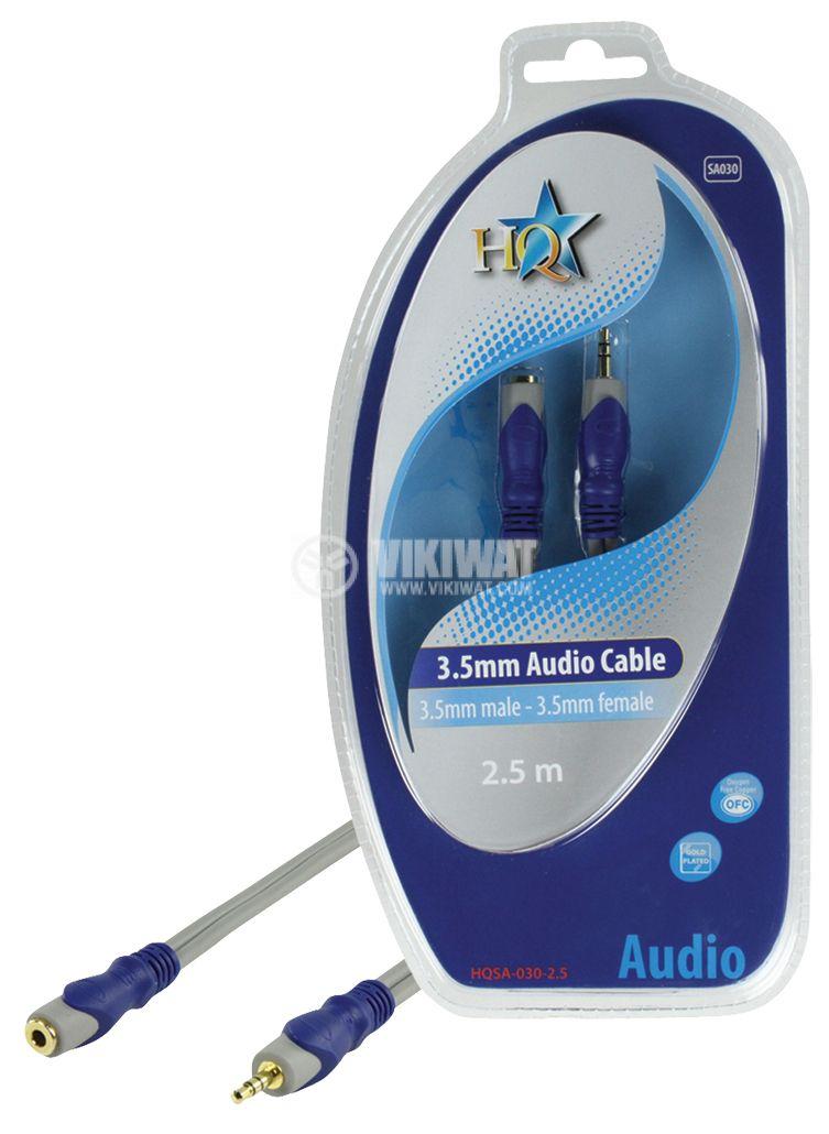 Кабел, plug 3.5 stereo/m-plug 3.5 stereo/f, 2.5m - 1