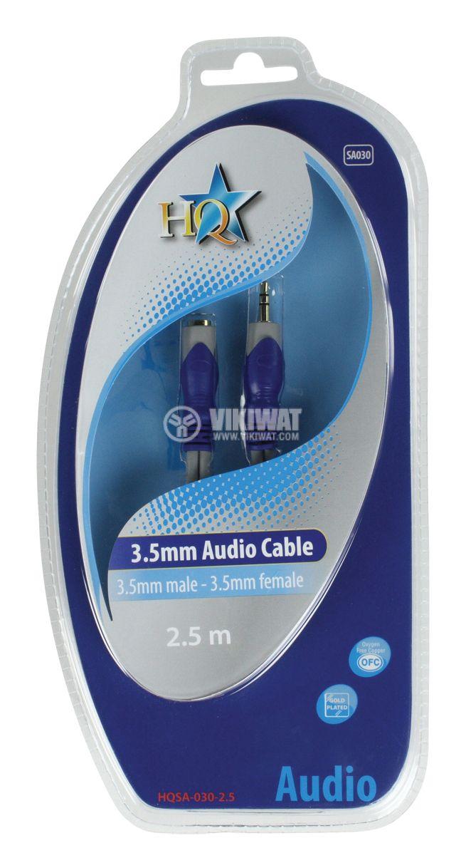 Кабел, plug 3.5 stereo/m-plug 3.5 stereo/f, 2.5m - 3
