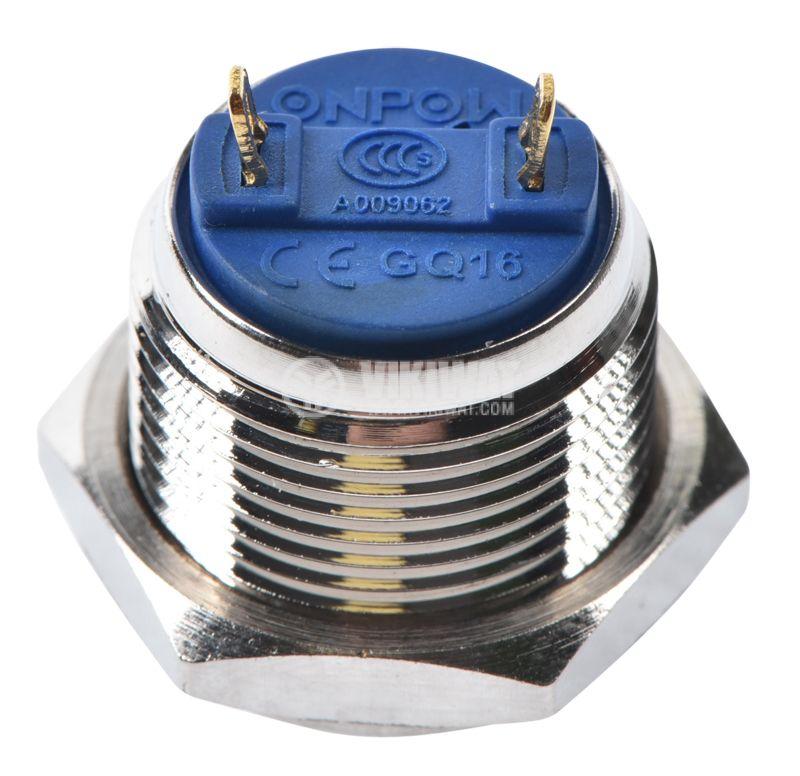Button, V16-10PFJ-N, 2A, 36VDC, SPST NO, non-holding - 3