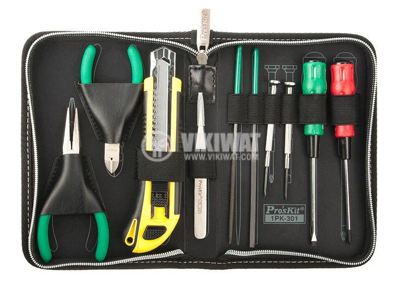 Tool set 1PK301, 4 holes, pinch, 2 files, carpet knife, pliers, straight pliers - 1
