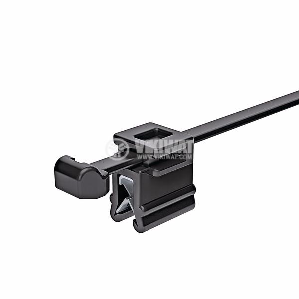 Кабелна превръзка с скоба, Top Fixing T50ROSEC4B, 200mm, черна, за многократна употреба - 4