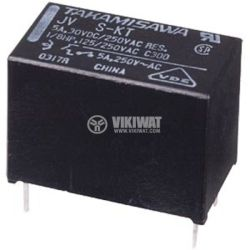 Electromechanical Relay, SPST, coil 12VDC, 250VAC/5A, JV-12S-KT