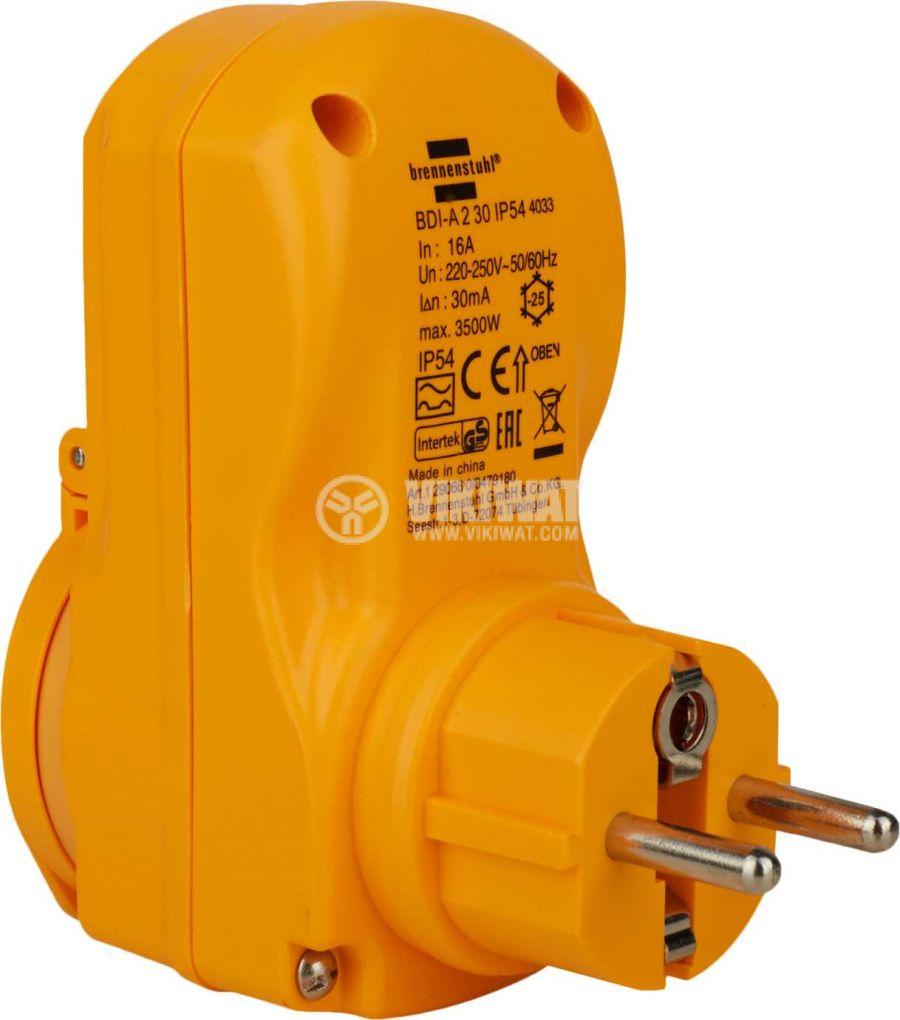 Адаптер - дефектнотокова защита, brennenstuhl, 16A, IP54, 1290660 - 2