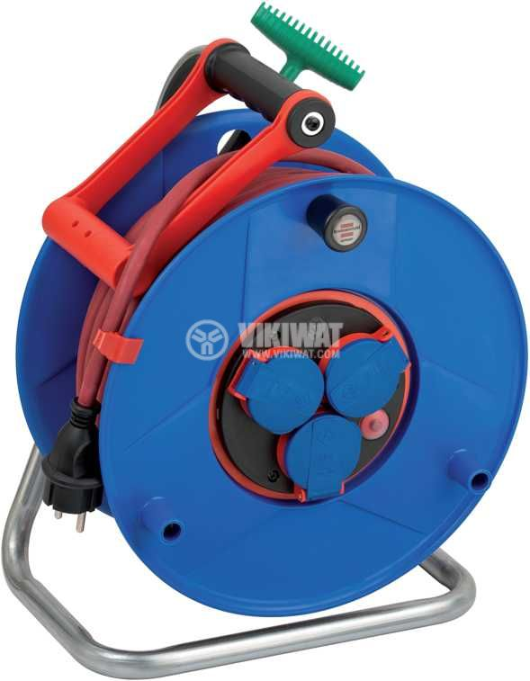 Extension reel, Brennenstuhl, GARANT, 3-way, 40m, 3x1.5mm2, thermal protection, blue, 1328930 - 1