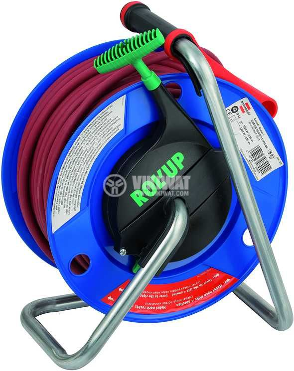 Extension reel, Brennenstuhl, GARANT, 3-way, 40m, 3x1.5mm2, thermal protection, blue, 1328930 - 3