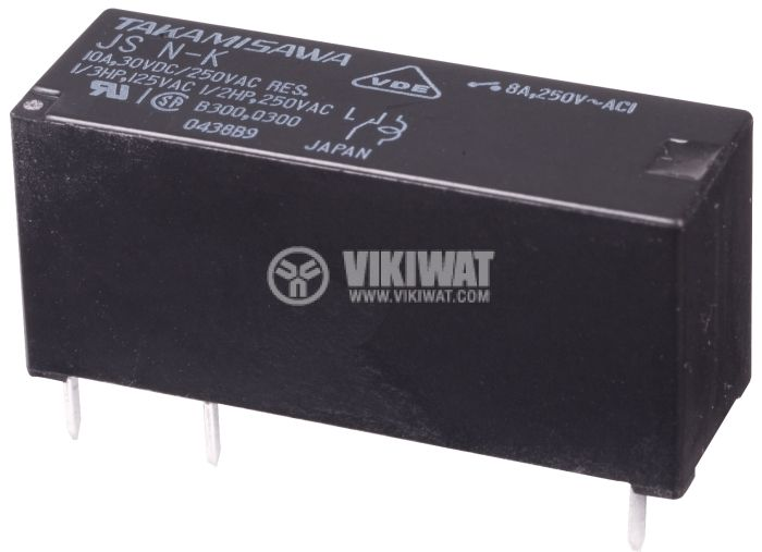 Electromechanical Relay, SPST-NO, coil 12VDC, 250VAC/8A, JS-12MN-KT