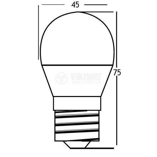 LED лампа 5W, E27, G45, 220VAC, 400lm, 6400K, студенобяла, мини сфера, топче, BA11-00523 - 2