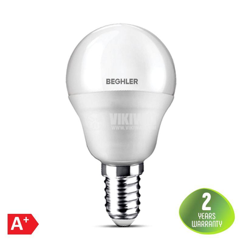 LED лампа 5W, E14, P45, 220VAC, 4200K, неутрално бяла, BA41-0511 - 1