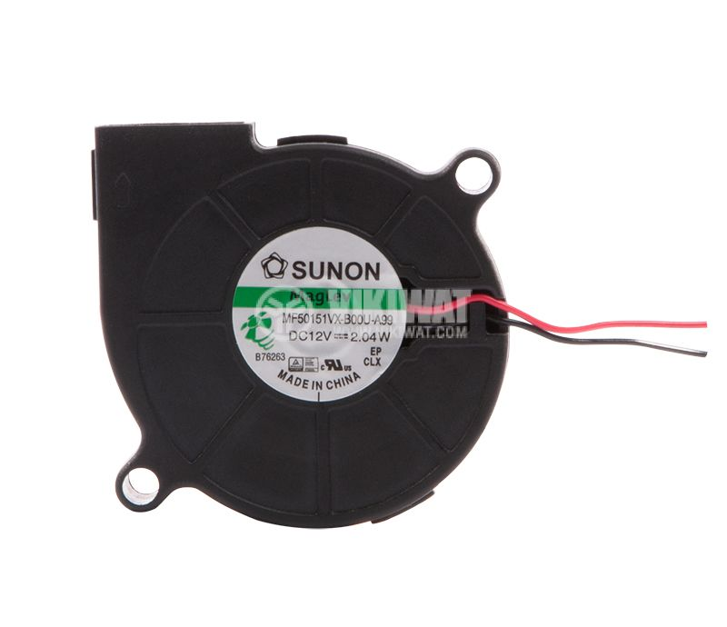 """Вентилатор, 12VDC, 51.7x51.6x15mm, тип """"охлюв"""", 9.18m3/h, MF50151VX-B00U-A99 - 2"""