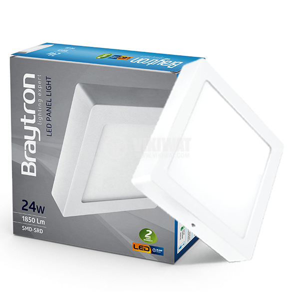 LED panel 24W, square, 220VAC, 1752lm, 4200K, neutral white, 300x300mm, surface mounting, BP04-32410 - 3